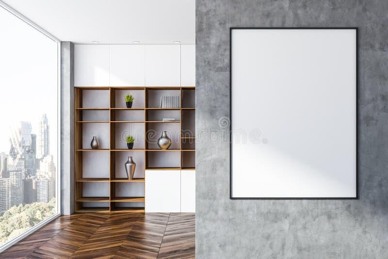 Grijze woonkamer met boekenkast en affiche vector illustratie