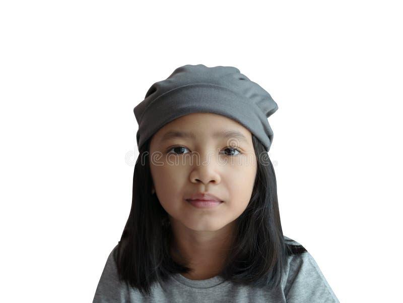 Gril asiático do retrato isolado no fundo branco com trajetos de grampeamento fotografia de stock