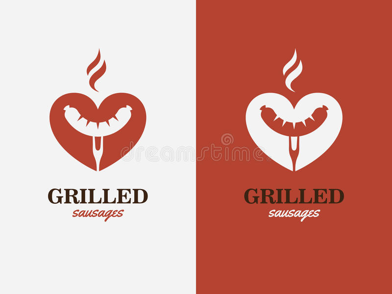 Gril, BBQ, symbole d'amour de hot-dog Logo d'aliments de préparation rapide illustration libre de droits