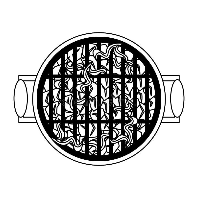Gril chaud de barbecue avec le topview de flammes en noir et blanc illustration libre de droits
