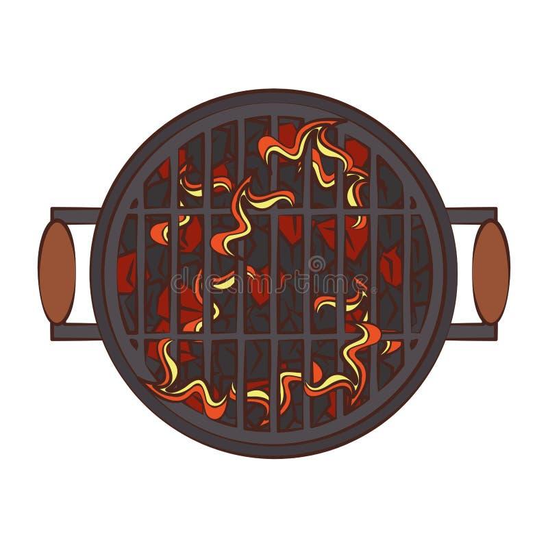 Gril chaud de barbecue avec le topview de flammes illustration stock