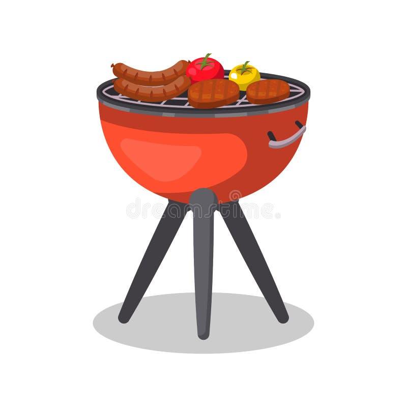 Gril de barbecue avec l'icône d'isolement par nourriture illustration de vecteur
