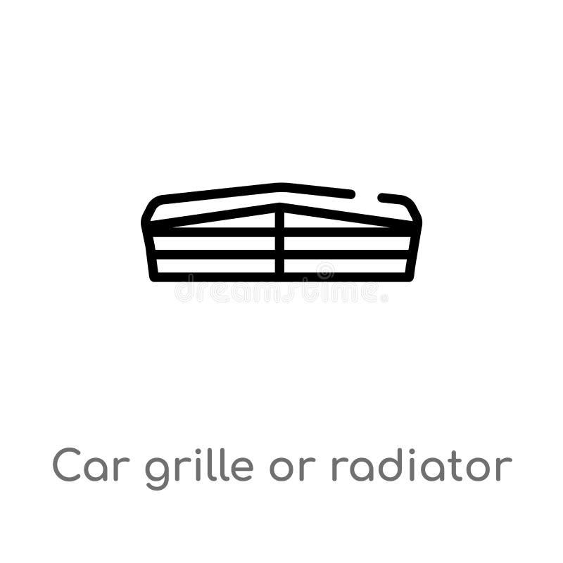 gril de voiture d'ensemble ou ic?ne de vecteur de gril de radiateur ligne simple noire d'isolement illustration d'?l?ment de conc illustration libre de droits