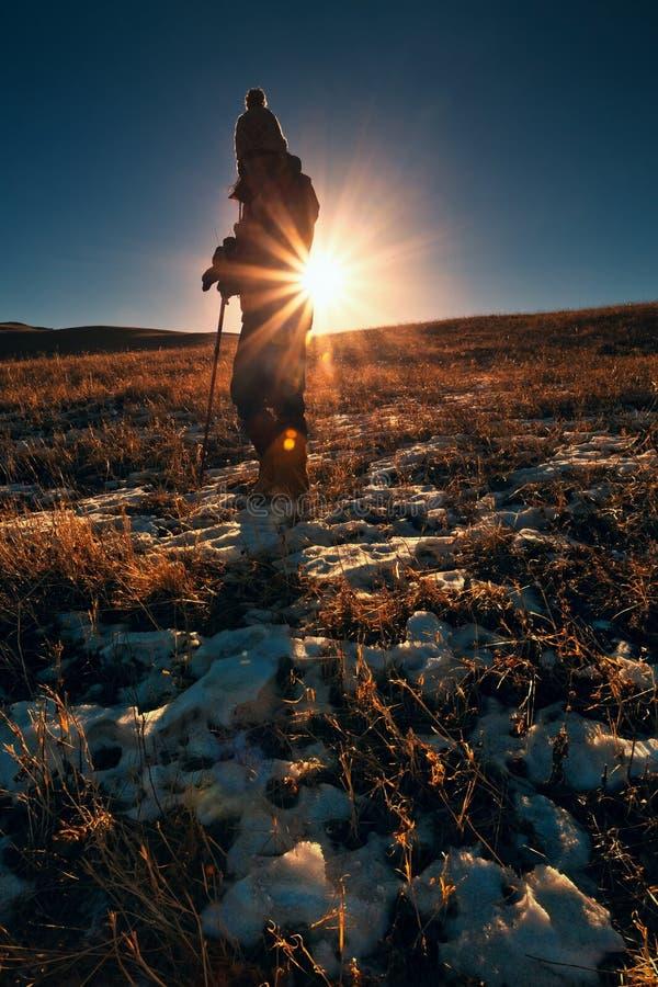 Gril en puesta del sol foto de archivo