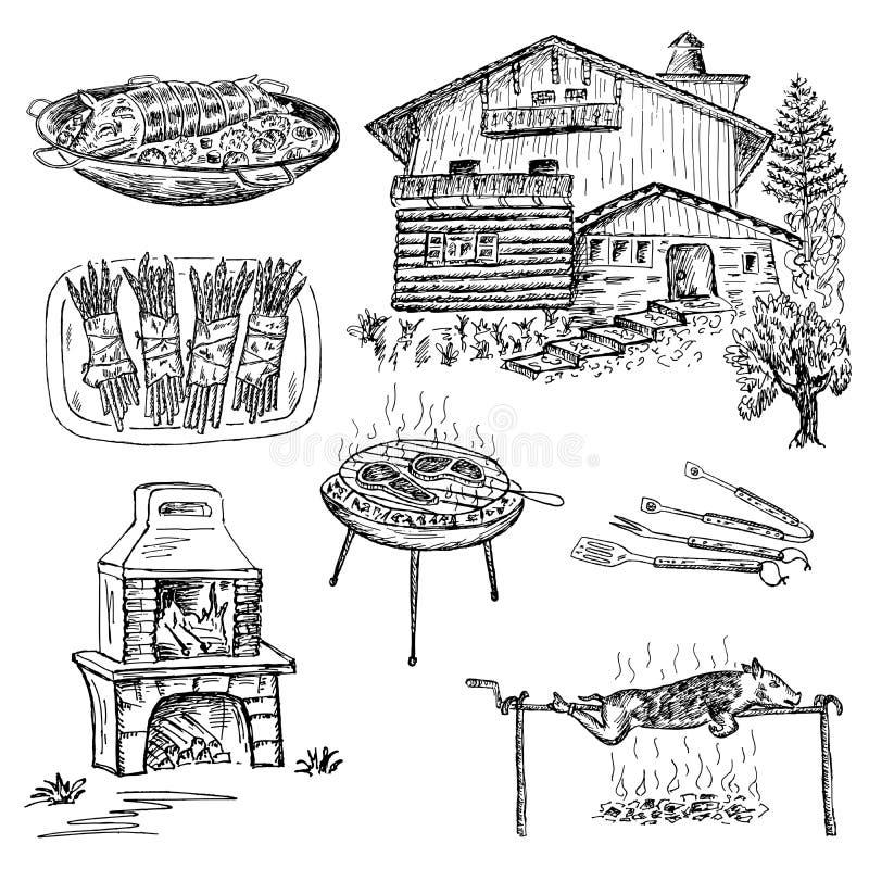 Gril et barbecue illustration de vecteur