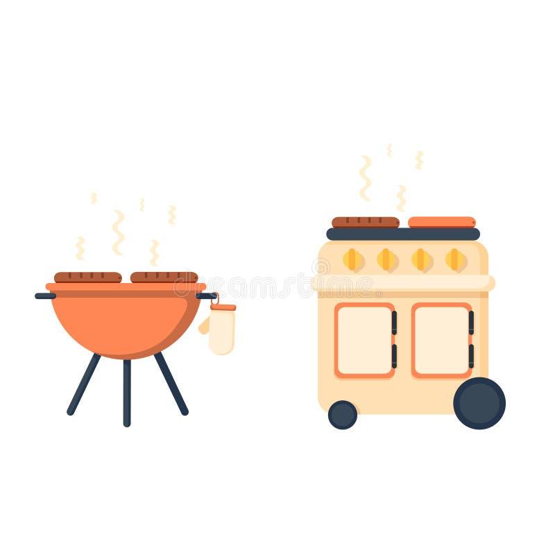 Gril et barbecue de bouilloire illustration stock