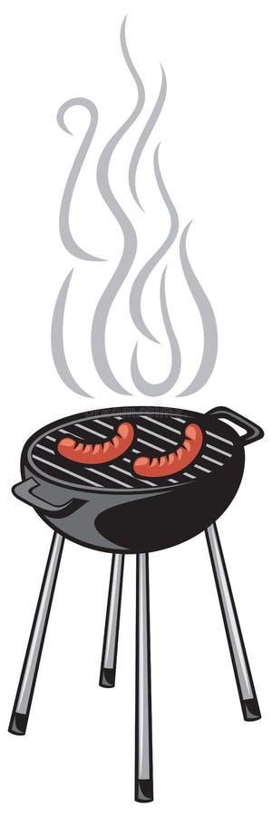 Gril et saucisse de barbecue illustration stock
