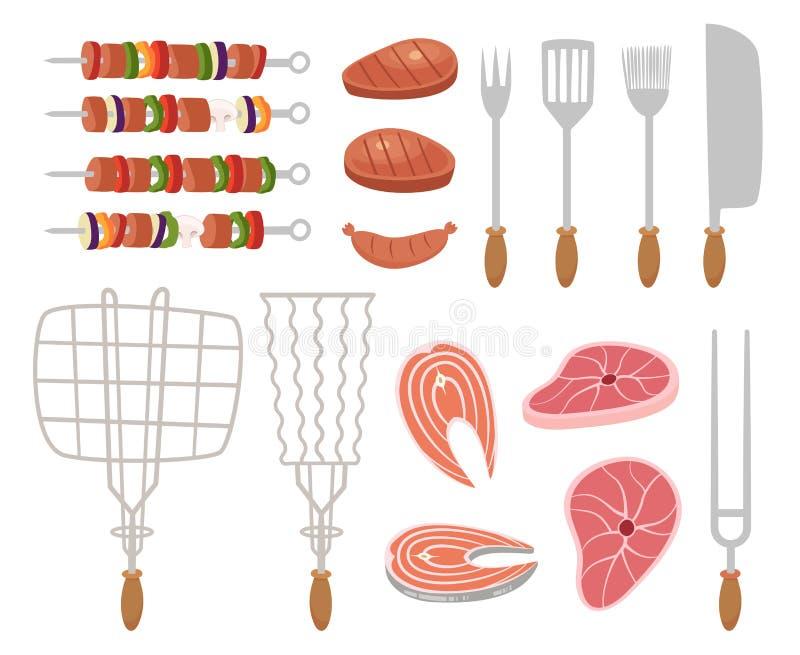 Gril, icônes de barbecue ensemble d'éléments - chef, outils de cuisine, valise, ketchup, charbon de bois, bouteille de vin, tabli illustration stock