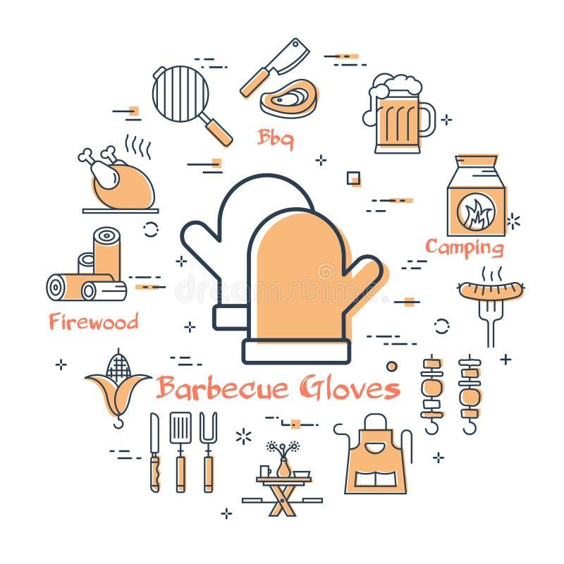 GRIL rond linéaire de concept de vecteur Gants de barbecue illustration de vecteur