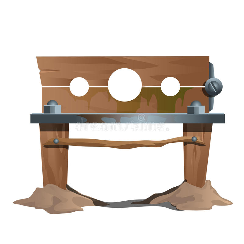 Grilhões de madeira, instrumento de execução antigo ilustração do vetor