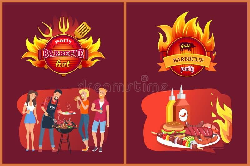 Grillów Partyjni emblematy z płomienia i grilla setem ilustracji