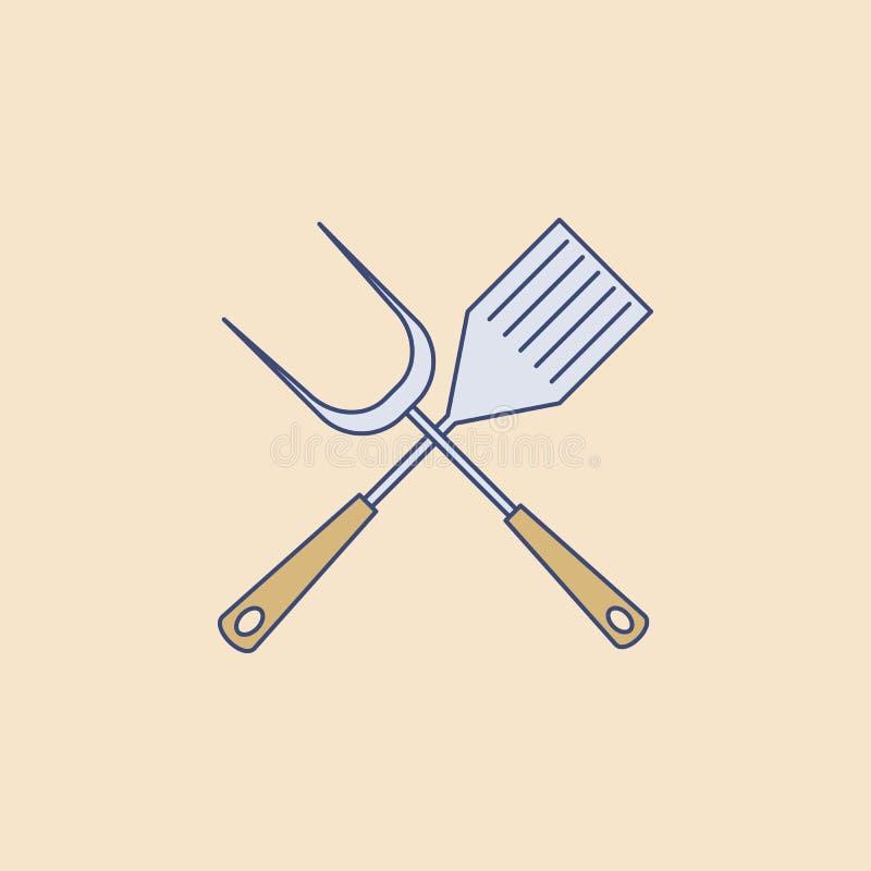 grillów akcesoriów pola konturu ikona Element plenerowa rekreacyjna ikona dla mobilnych pojęcia i sieci apps Śródpolny konturu gr ilustracji
