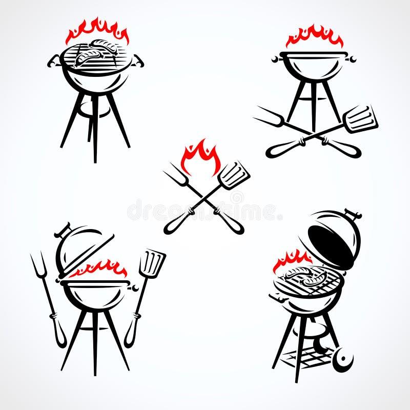 Grillów elementy i Inkasowy ikona grill wektor royalty ilustracja