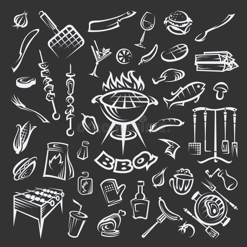 Grillów elementy ustawiający ilustracja wektor