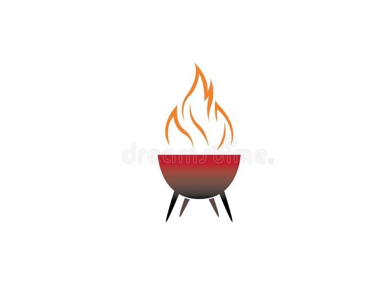 Grillów grille z ogieniem dla logo projekta ilustracji