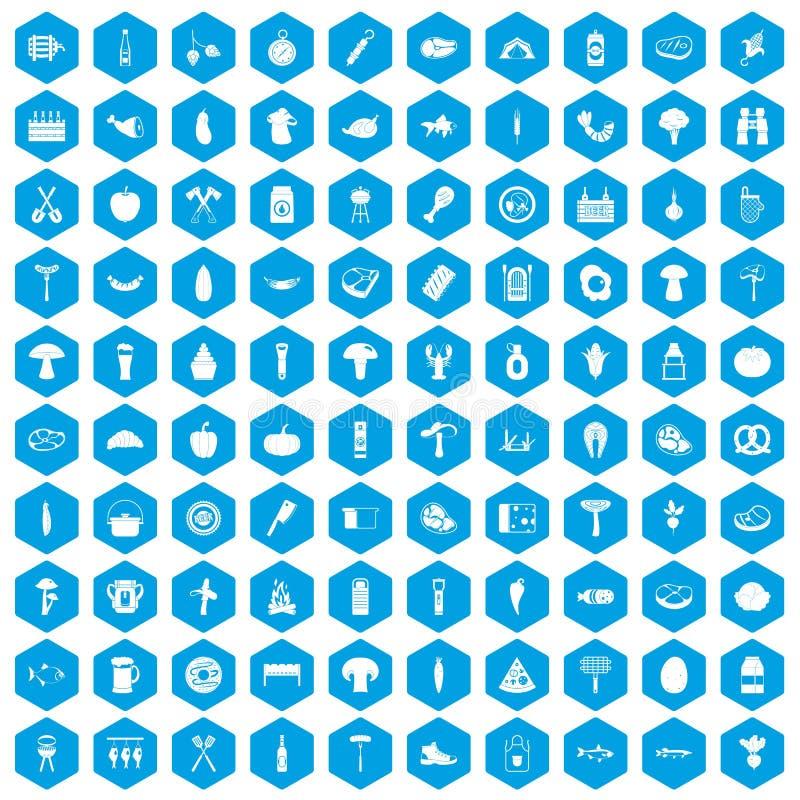 100 grillów ikon ustawiają błękit ilustracji