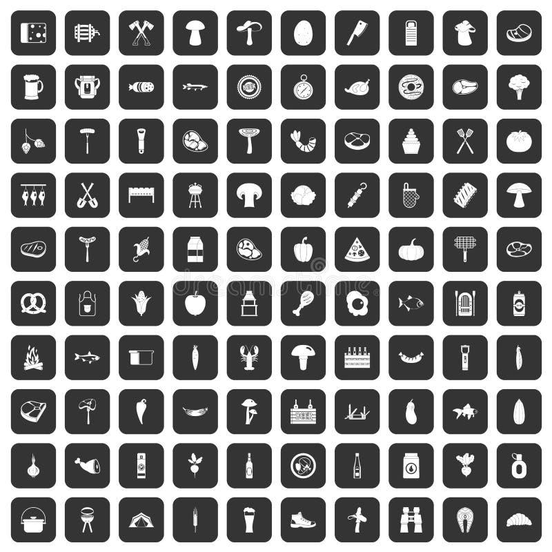 100 grillów ikon ustawiają czerń royalty ilustracja