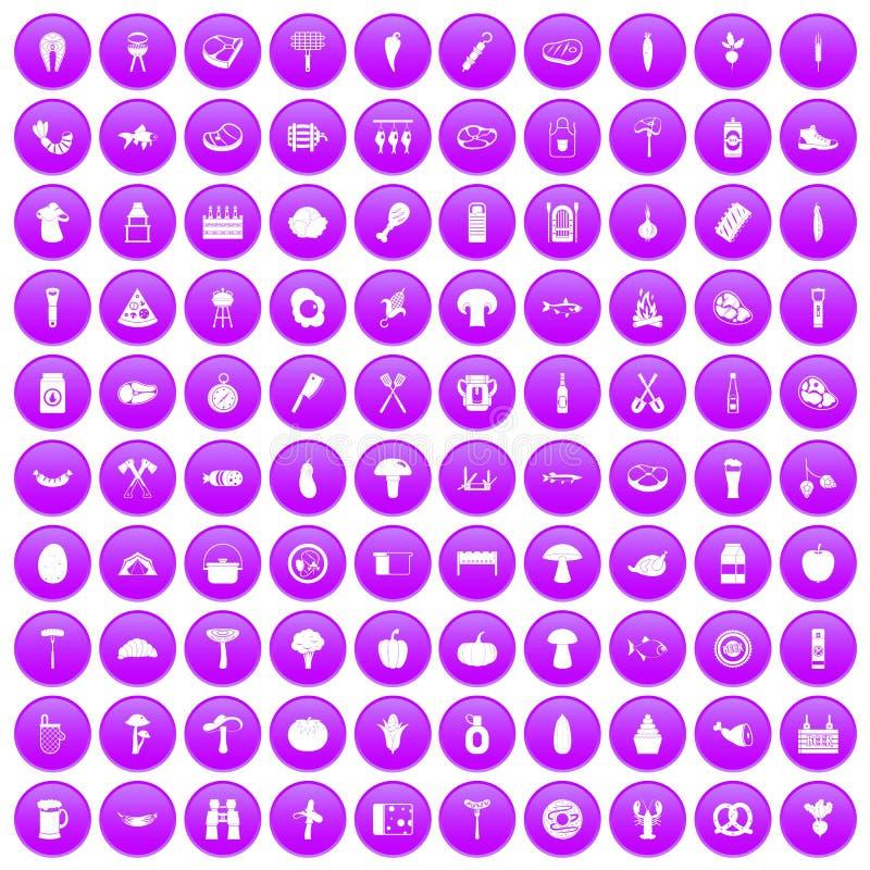 100 grillów ikony ustawiających purpur ilustracji