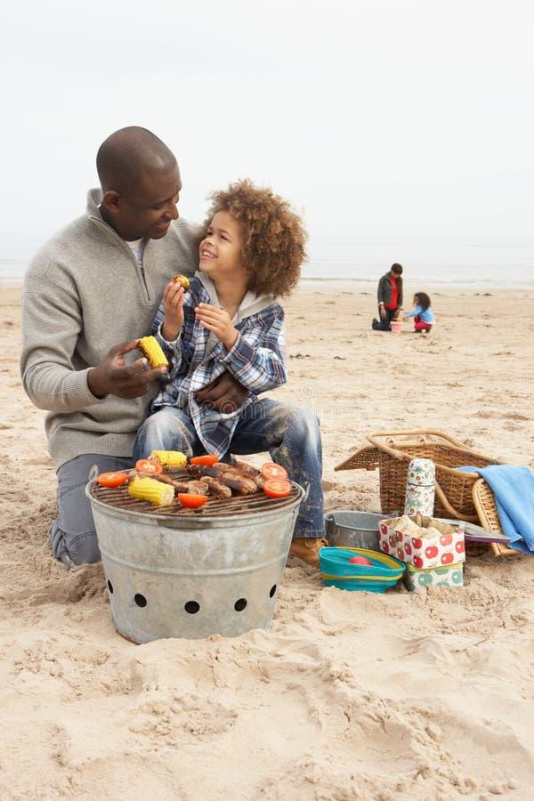 grillów potomstwa plażowi target390_0_ rodzinni zdjęcia stock