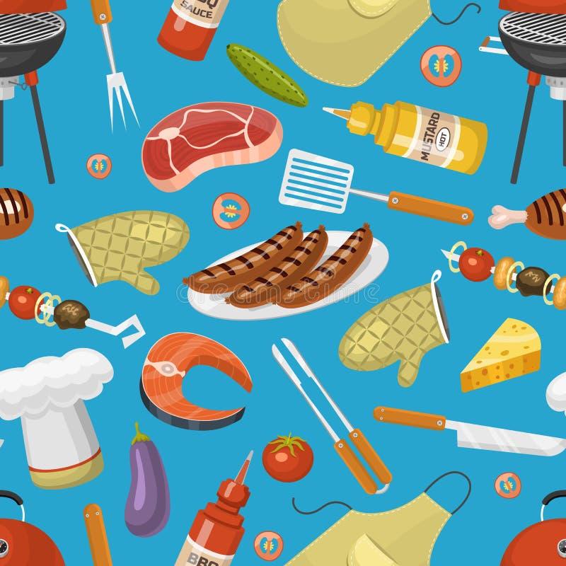 Grillów produktów BBQ opieczenia czasu kuchni partyjnych kuchennych plenerowych rodzinnych wektorowych ikon ilustracyjny bezszwow ilustracji