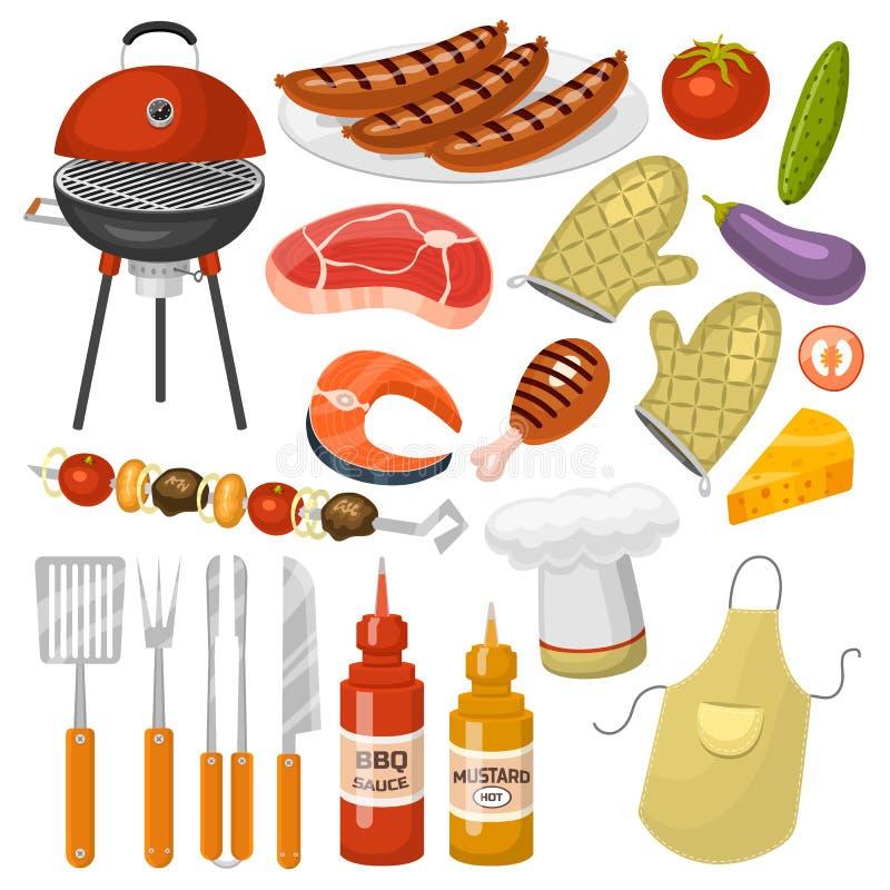 Grillów produktów BBQ opieczenia czasu partyjnej kuchennej plenerowej rodzinnej kuchni wektorowe ikony ilustracyjne ilustracja wektor