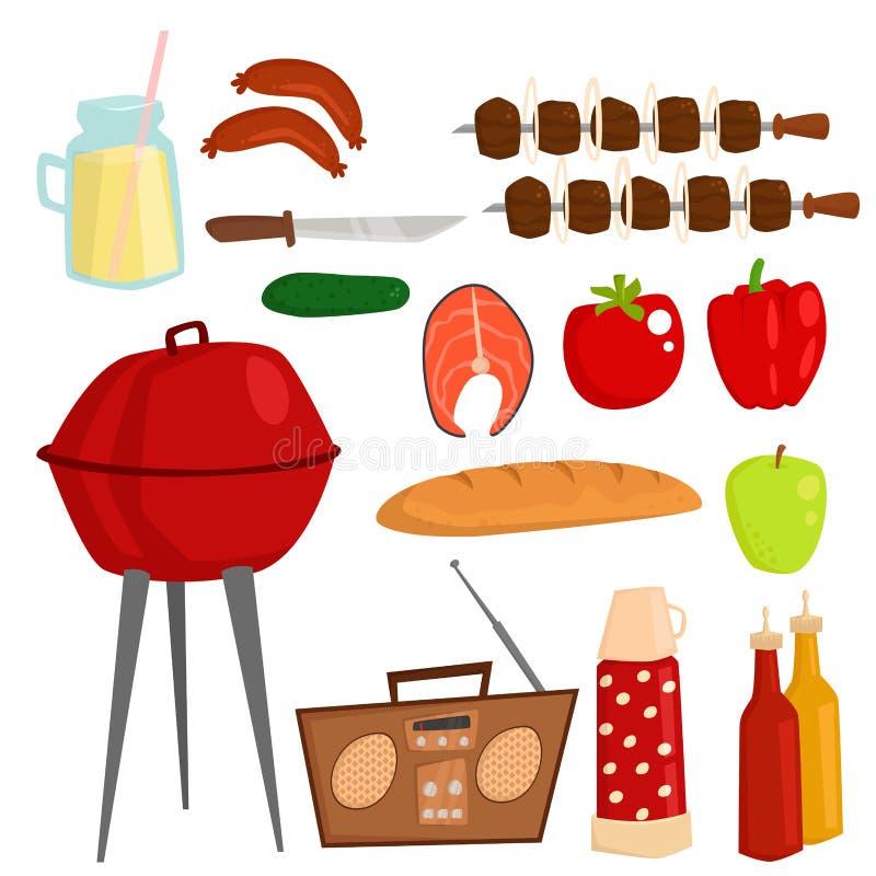 Grillów produktów BBQ partyjnego opieczenia czasu kuchni lunchu wektoru kuchenna plenerowa rodzinna ilustracja royalty ilustracja