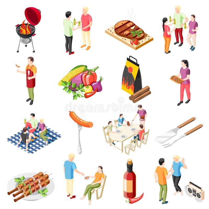 Grillów produktów ikony set ilustracji