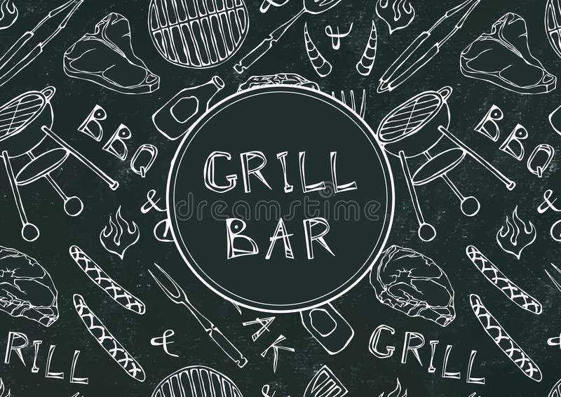 Grill Bar. Seamless Pattern of Summer BBQ Grill Party. Beer, Steak, Sausage, Barbeque Grid, Tongs, Fork, Fire. Black Board Backgro royalty free illustration