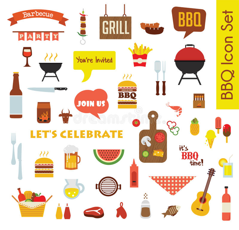 Grill Or Barbecue big Icon set with food and objects stock illustration