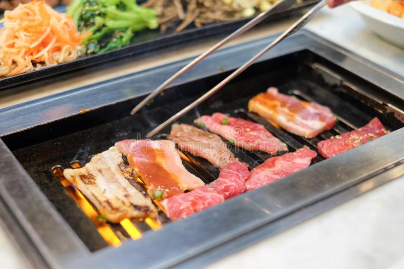 Grill for barbecue have Raw beef and pork slice royalty free stock photography