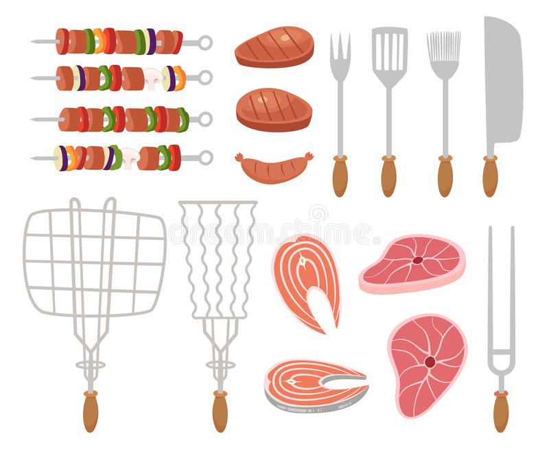 Grill, barbecue icons. set of elements - chef, kitchen tools, suitcase, ketchup, charcoal, bottle of wine, apron stock illustration