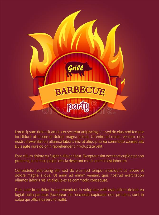 Grill Barbeque Party Poster Burning Fire, Grate royalty free illustration