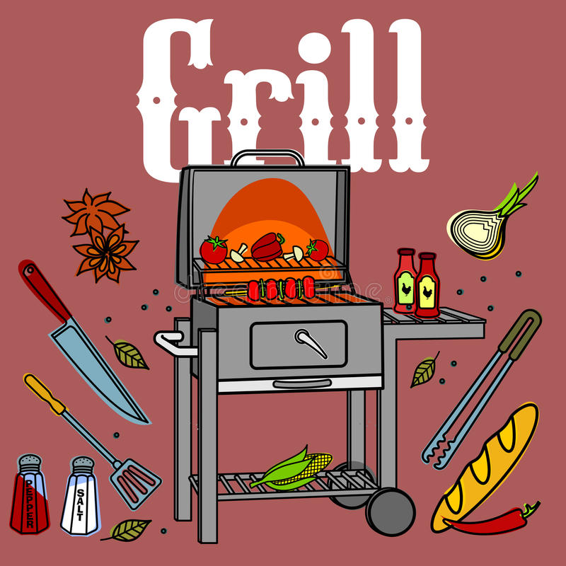 Grill & BBQ ilustracja wektor