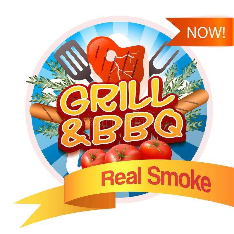Grill And BBQ Badge stock illustration
