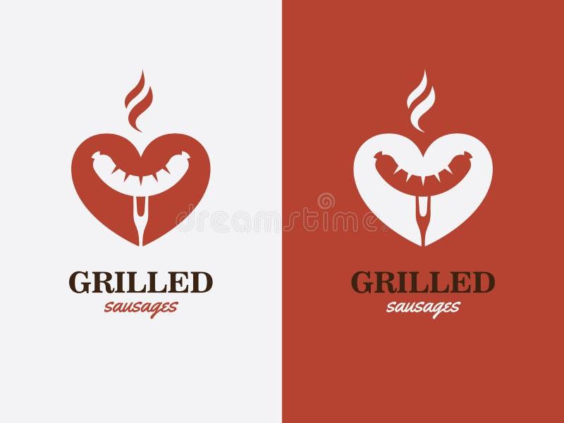Grill, bbq, het symbool van de hotdogliefde Snel voedselembleem royalty-vrije illustratie