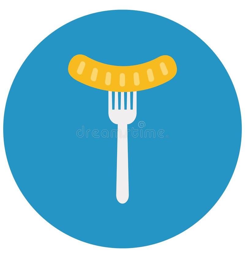 Grill, bratwurst Odizolowywał kolor Wektorową ikonę która może łatwo redagować lub modyfikująca ilustracji