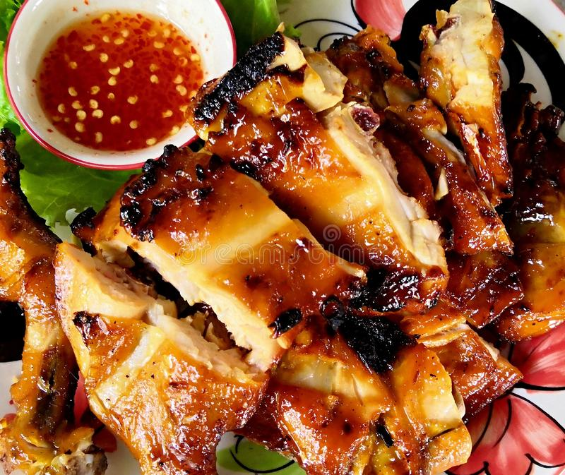 Grill chicken with sauce stock photography