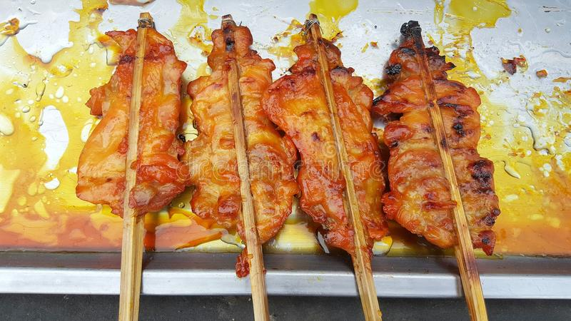 Grill chicken skewers stock photography