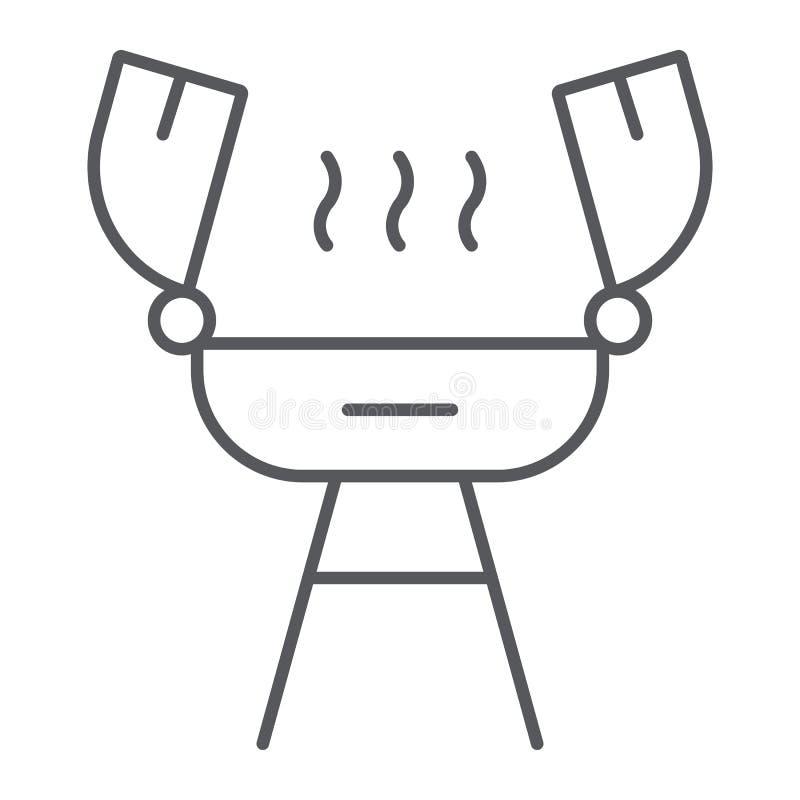 Grill cienka kreskowa ikona, ogień i kucharstwo, grilla znak, wektorowe grafika, liniowy wzór na białym tle ilustracji