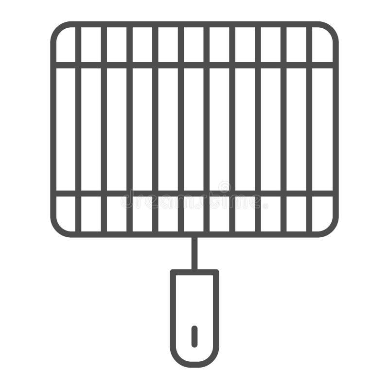 Grill cienka kreskowa ikona Grill wektorowa ilustracja odizolowywająca na bielu Fryer konturu stylu projekt, projektujący dla sie ilustracji