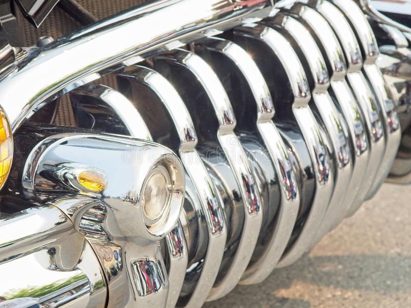 Vintage car grill. Grill of a classic vintage car, close-up stock photos