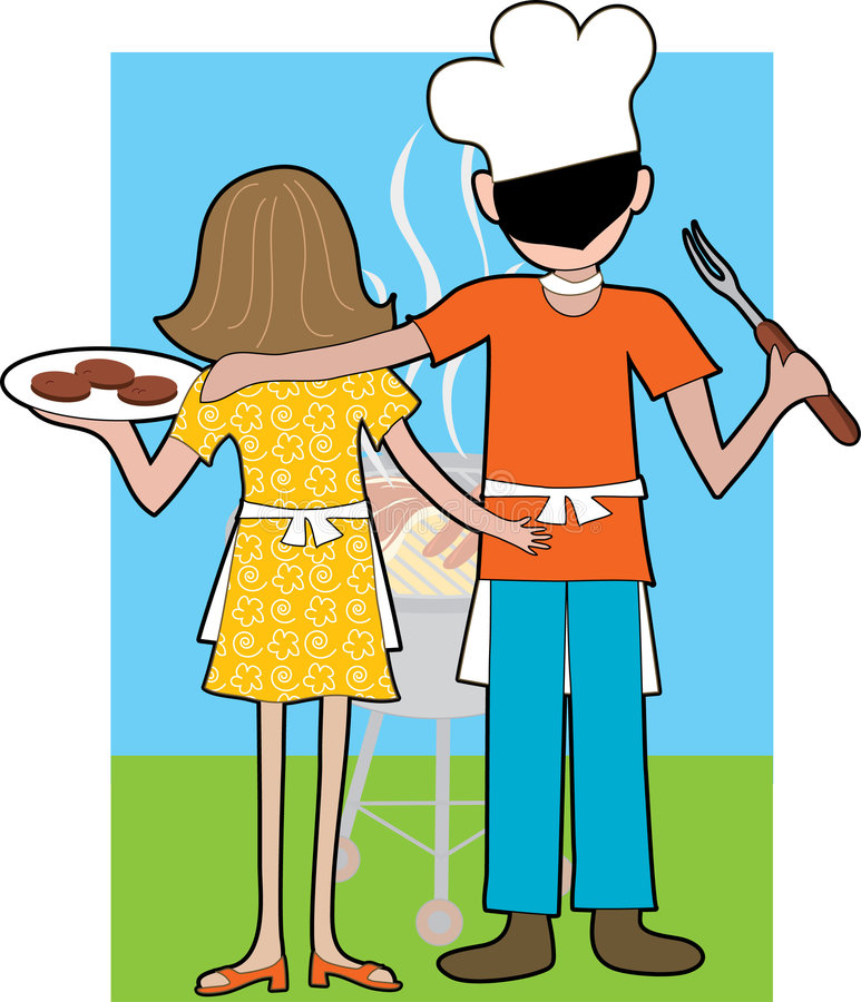 Grill Couple. A couple standing at a Barbeque waiting for their food to be cooked stock illustration