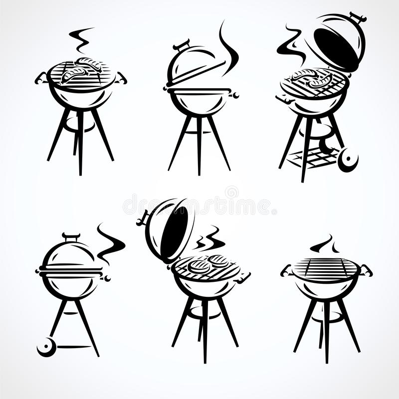 Grill elements set. Collection icon grill. Vector. Illustration stock illustration