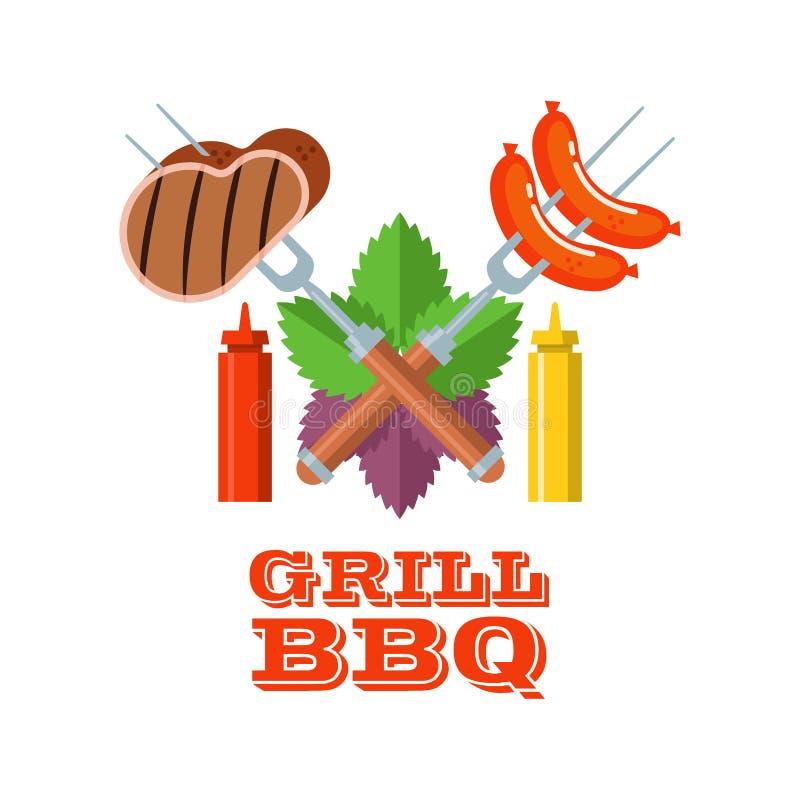 Grill, grill Emblemat, logo Kolorowa wektorowa ilustracja w f ilustracji