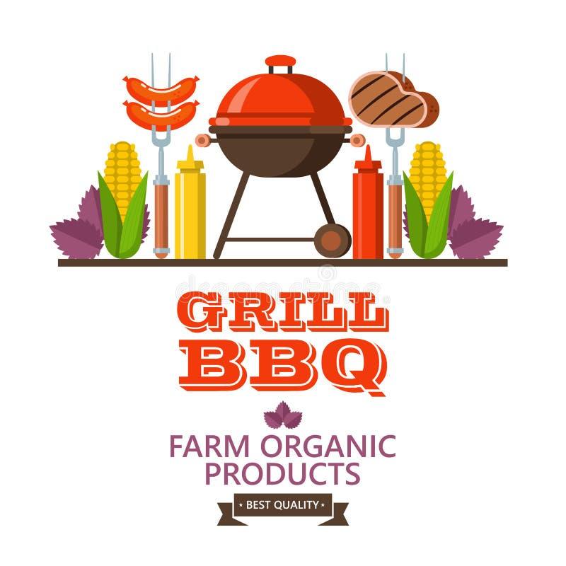 Grill, grill Emblemat, logo Kolorowa wektorowa ilustracja w f ilustracja wektor