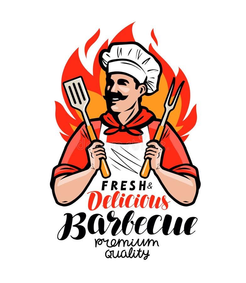 Grill etykietka lub logo Cook lub szczęśliwy kucharz trzyma grilla wytłaczamy wzory szpachelkę i rozwidlenie Literowanie wektoru  royalty ilustracja