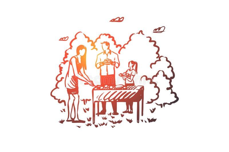 Grill, Familie, Grill, bbq, Nahrungsmittelkonzept Hand gezeichneter lokalisierter Vektor vektor abbildung