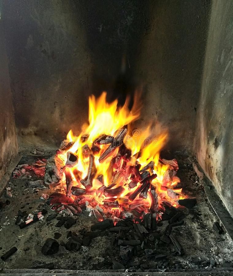 Grill fire stock photo