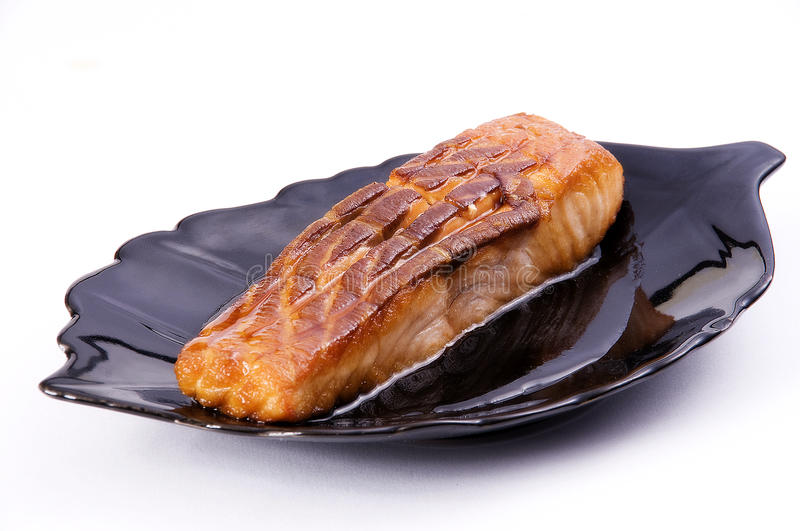 Grill fish (halibut) royalty free stock photography