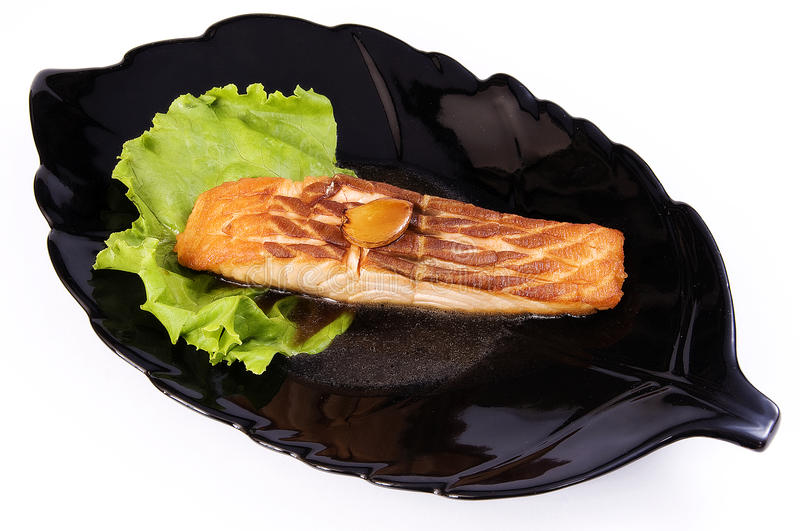 Grill fish ( halibut) stock photos